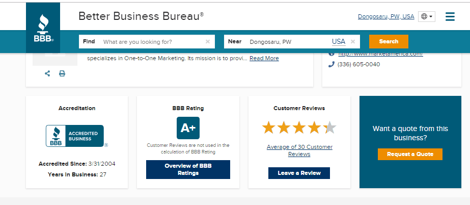 Market America BBB rating