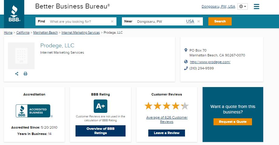 Swagbucks BBB rating