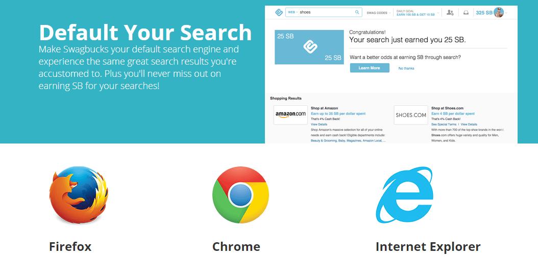 Swagbucks default search engine