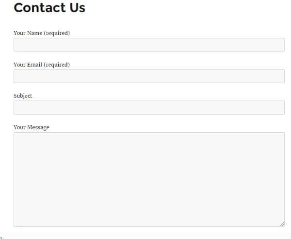 Contact Us Form Finished